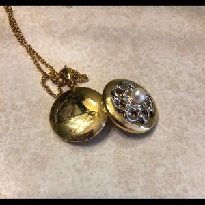 Gold Locket with Pearl
